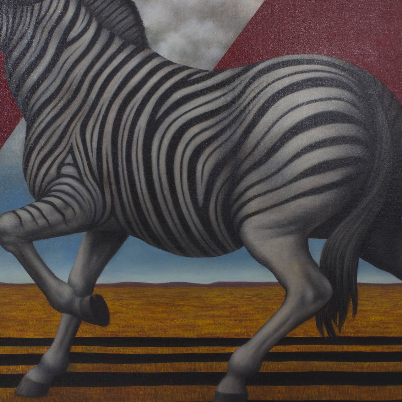 American Acrylic Zebra Painting on Canvas For Sale