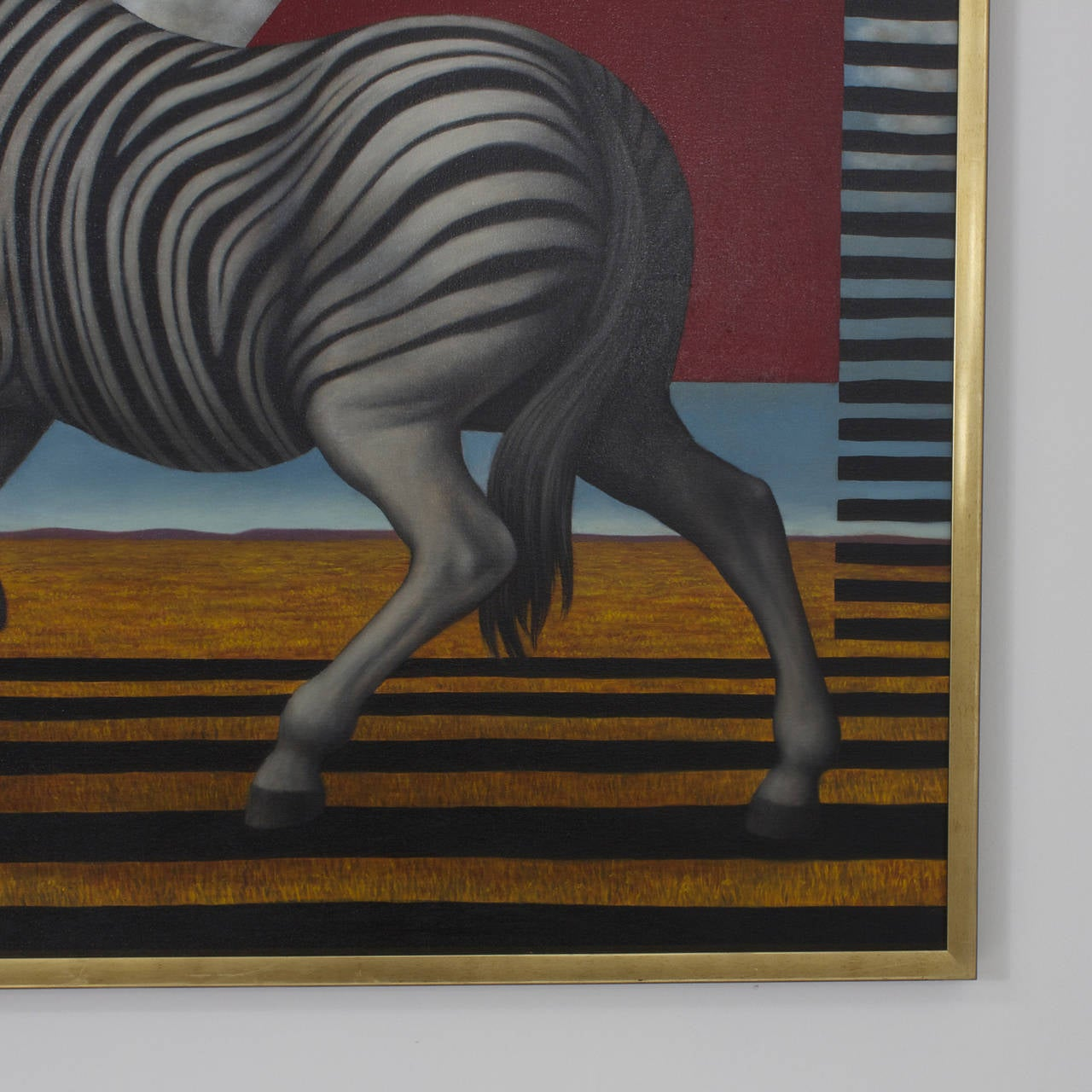 Acrylic Zebra Painting on Canvas In Excellent Condition For Sale In Palm Beach, FL