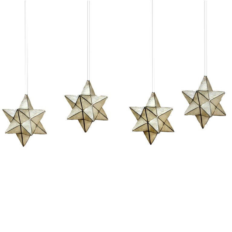 4 Capiz Star Shaped Pendant Lights At 1stdibs
