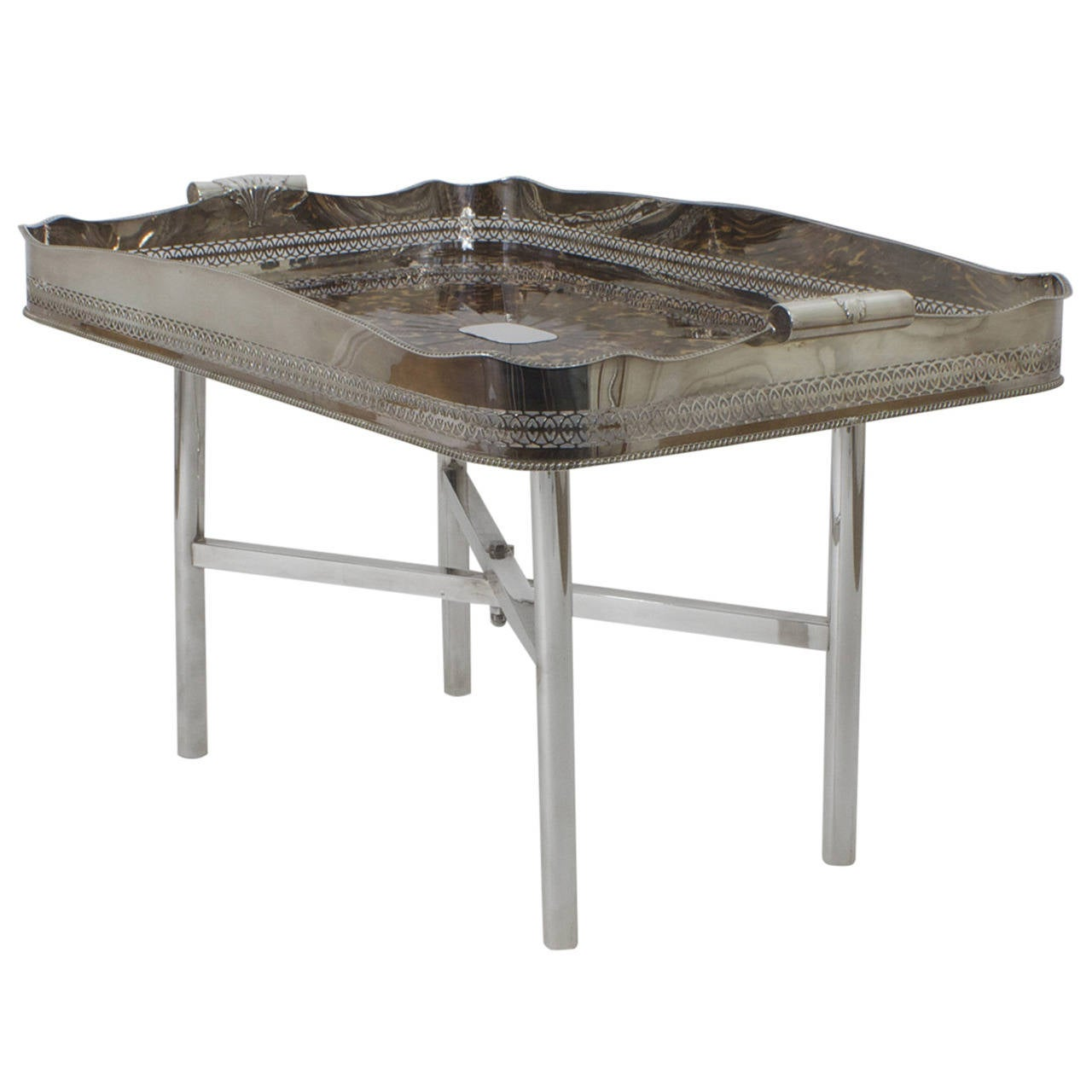 Faux Tortoiseshell and Silver Plated Tray Table For Sale