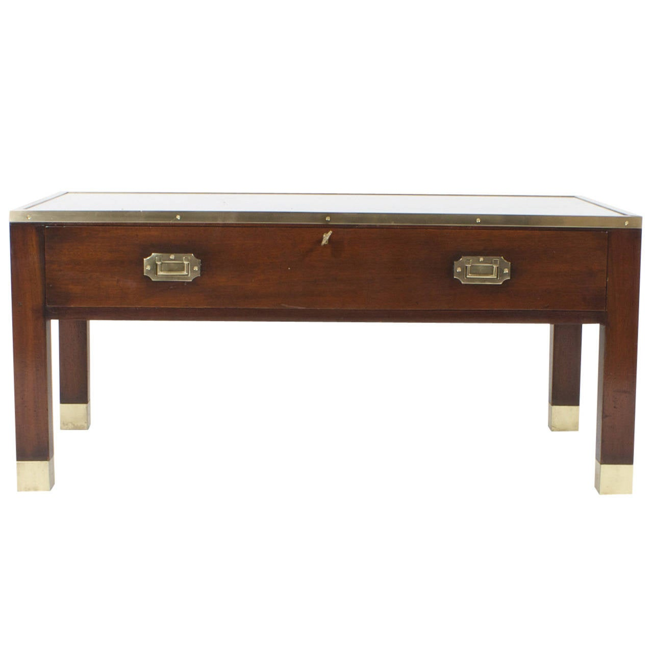 Campaign style cocktail or coffee table with display case Vogue coffee table
