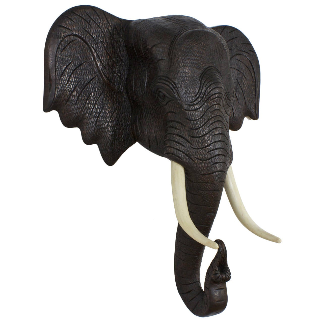 Carved Wood Elephant Head Sculpture