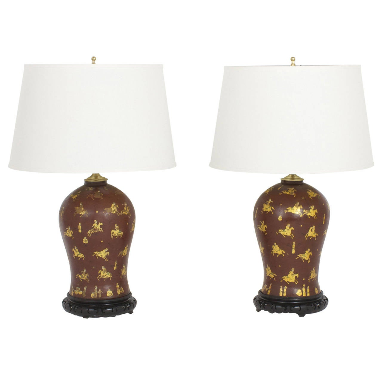 Pair of Polo Player Table Lamps