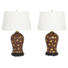 Pair of Chinoserie Decorated Polo Player Table Lamps