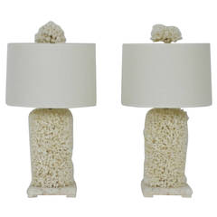 Pair of Bulbous Lace Coral Table Lamps