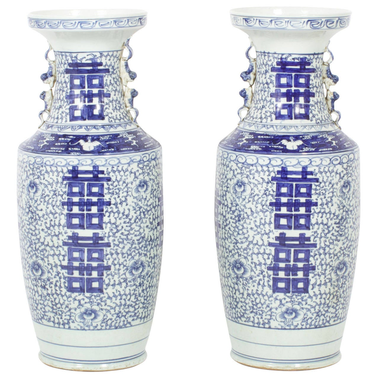 Pair Of Large Blue And White Chinese Porcelain Vases For