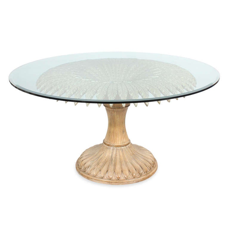 Round Carved And Limed Italian Palm Tree Dining Table At