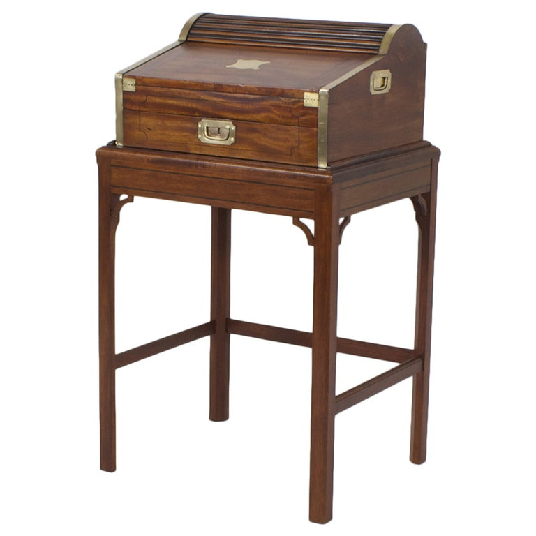 Campaign Roll Top Desk on Stand For Sale