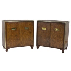 Pair of Campaign Style Burl Wood Cabinets or Nightstands
