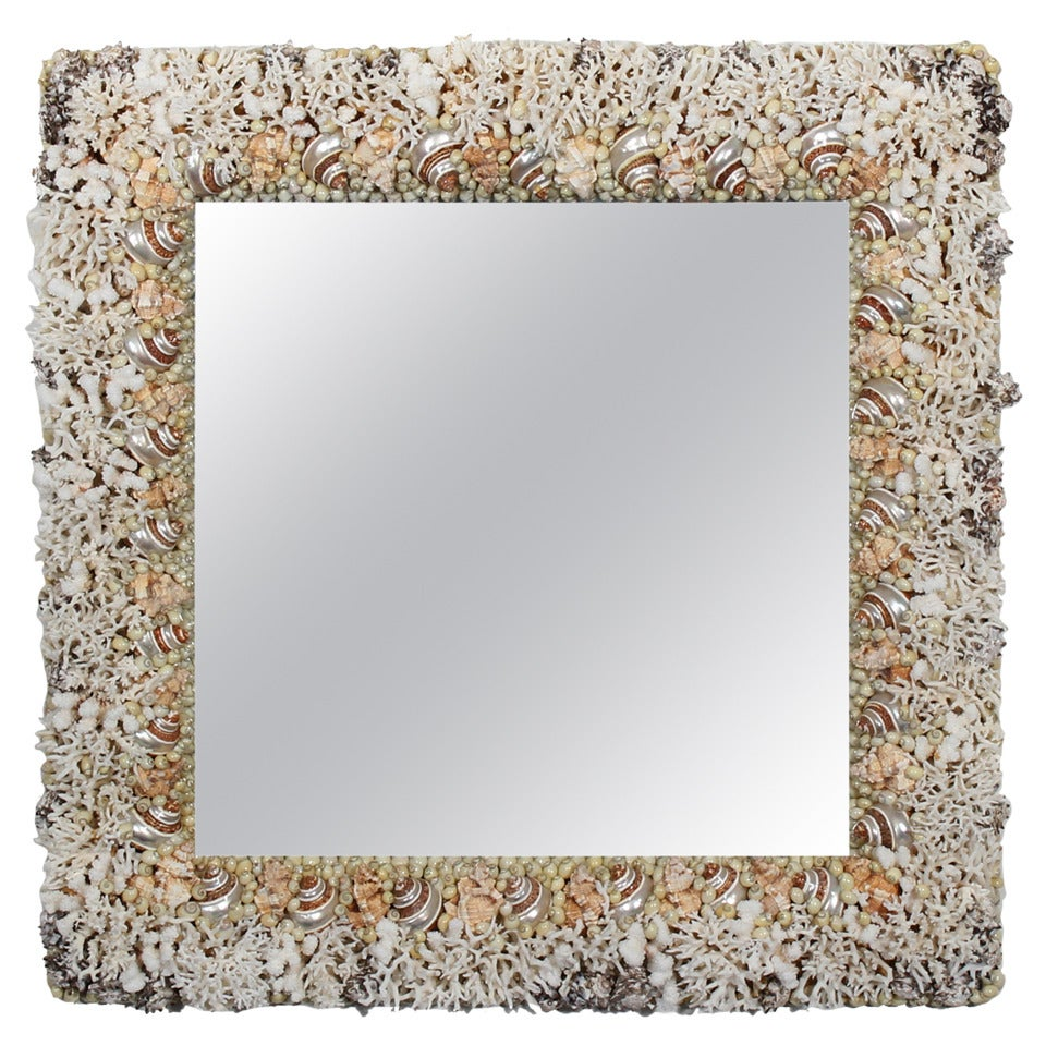 Coral and Seashell Mirror
