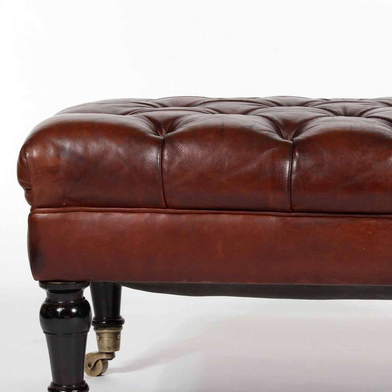 Tufted Leather Ottoman Or Bench Late 19th Century At 1stdibs