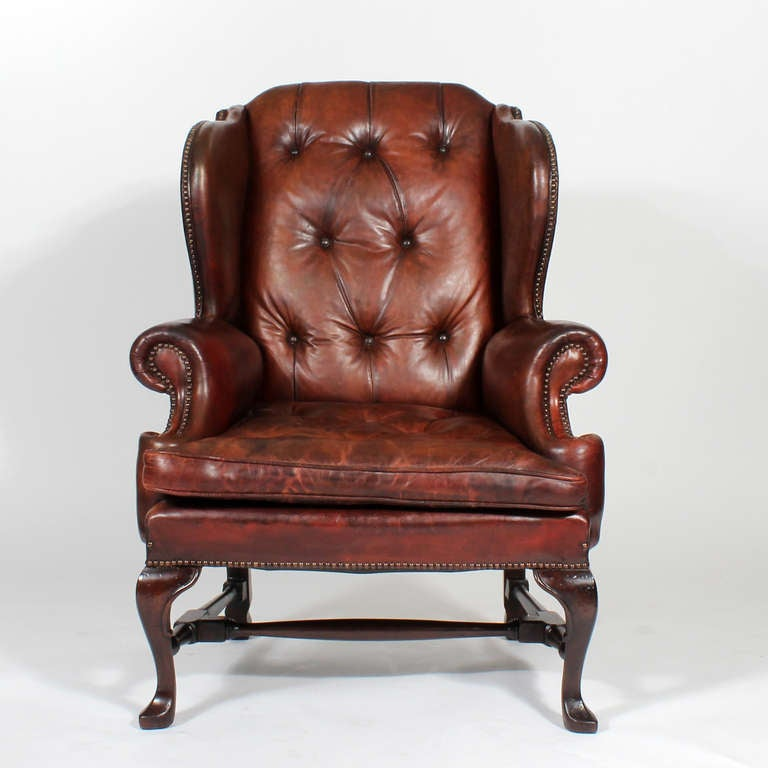 leather high back chairs for sale pair of early 20th century brass tacked tufted leather 16639 | IMG 5484 l