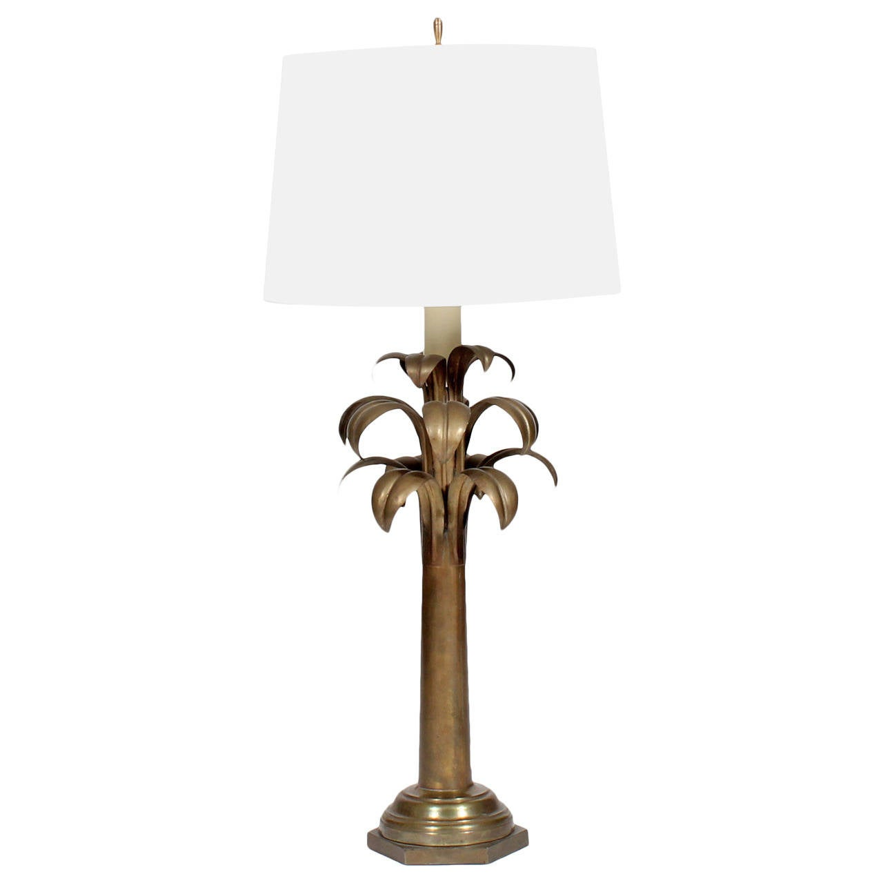Tall brass stylized palm tree lamp at 1stdibs for Tall tree floor lamp