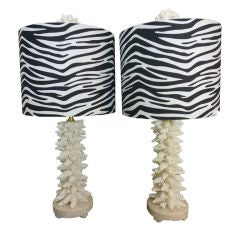 Pair of Finger Coral Lamps, with Coquina Bases and Zebra Shades