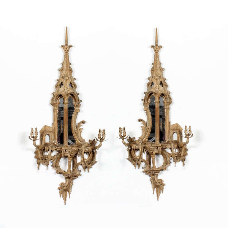 Pair of Neoclassical Chinoiserie Style Carved and Painted Mirrored Wall Sconces 2