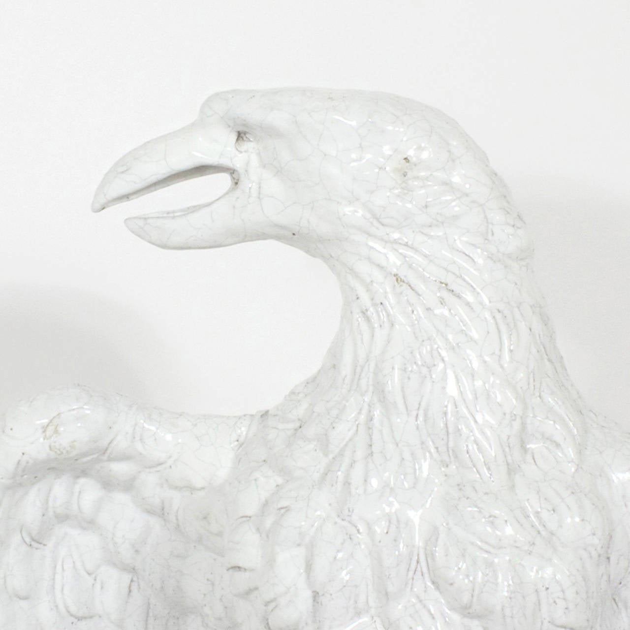 Italian Large Pair of Majolica Terra Cotta Eagles For Sale