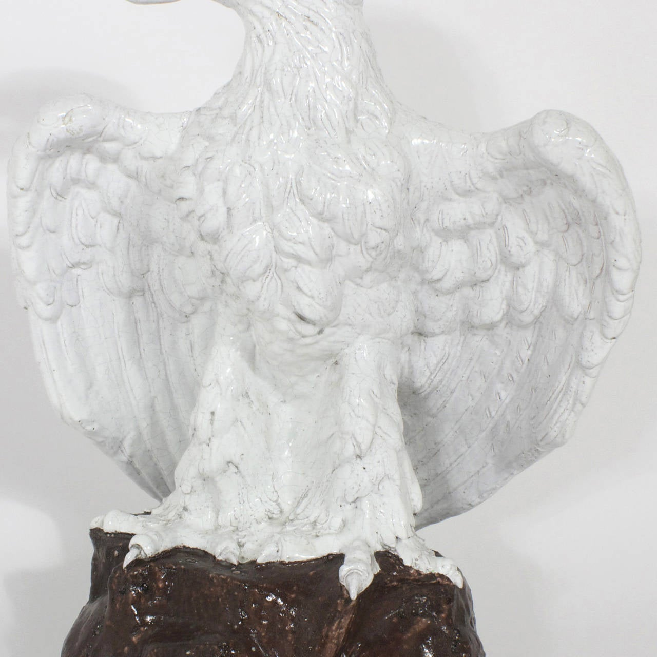Large Pair of Majolica Terra Cotta Eagles In Excellent Condition For Sale In Palm Beach, FL