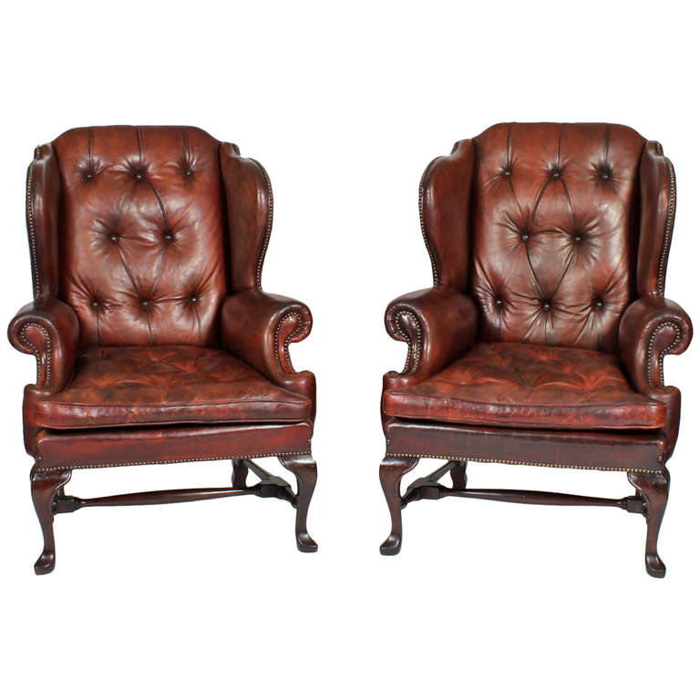 Pair of Early 20th Century Brass Tacked Tufted Leather ...