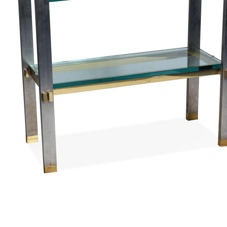 1970s polished aluminum and brass set of shelves or tagere for sale at 1stdibs - Etagere aluminium design ...