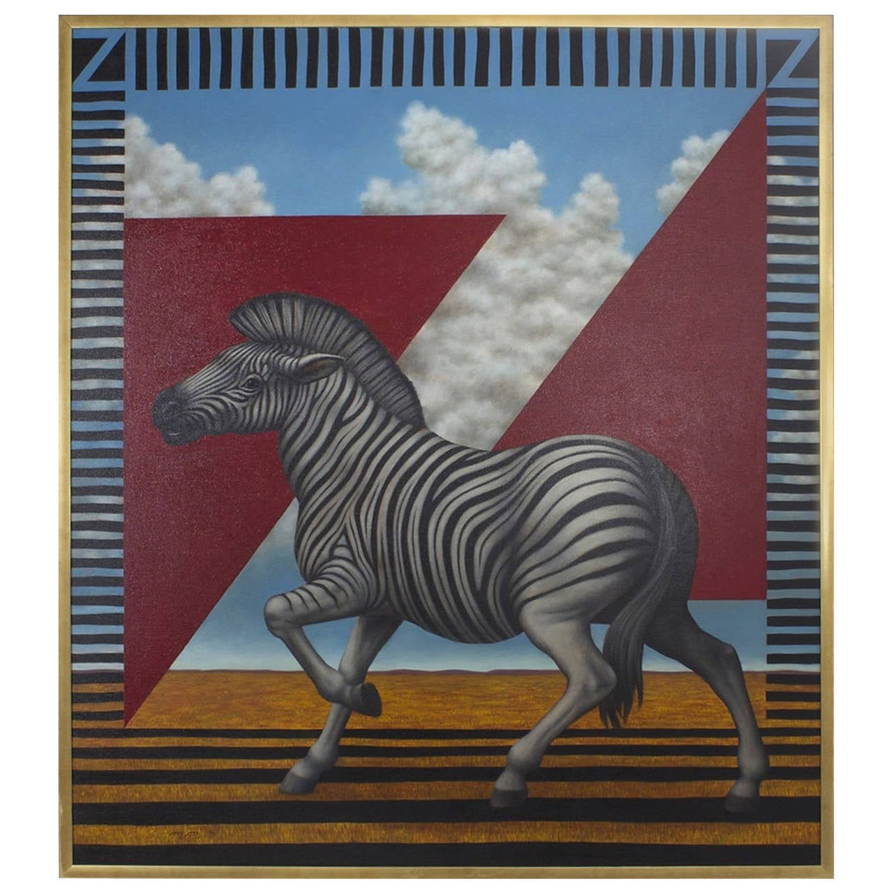 Acrylic Zebra Painting on Canvas For Sale