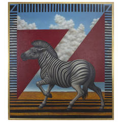 Acrylic Zebra Painting on Canvas