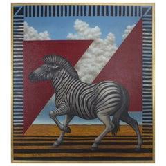 Acrylic Zebra Painting on Canvas
