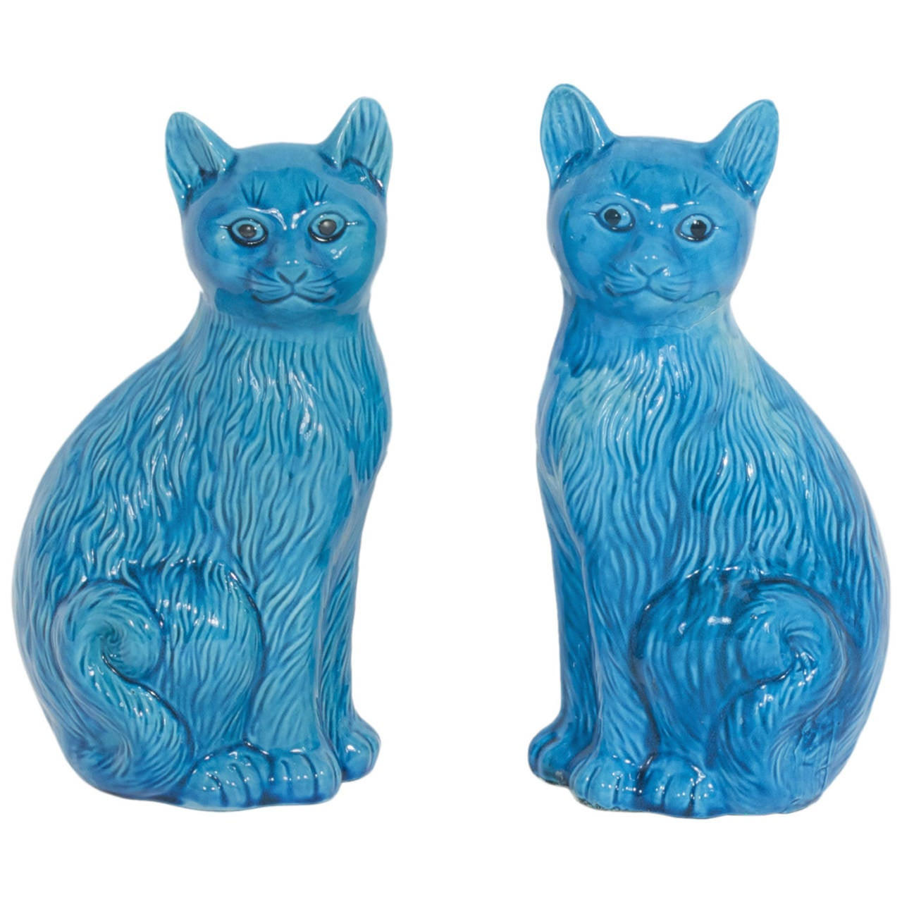 Large Pair of Ceramic Turquoise Blue Cats