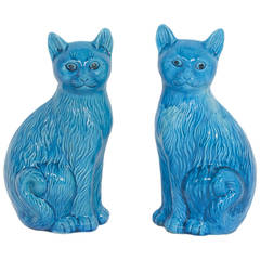 Large Pair of Ceramic Turquoise Blue Cats