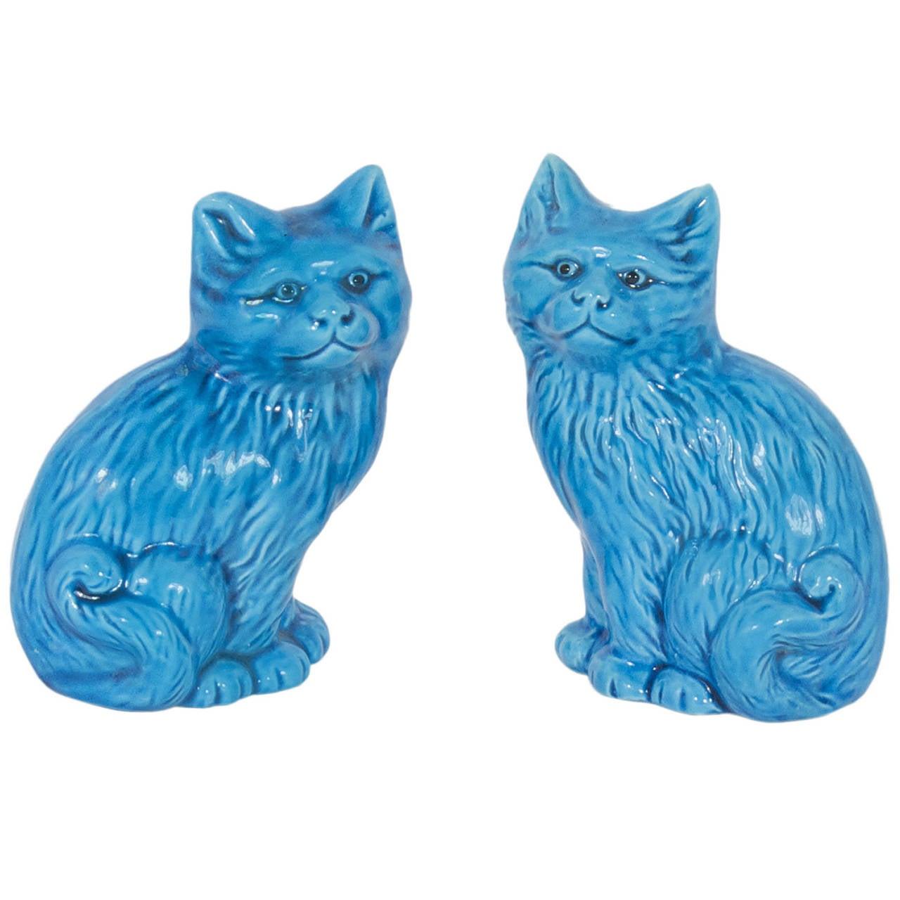 Pair of Turquoise Ceramic Cats