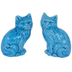 Pair of Turquoise Ceramic Cats