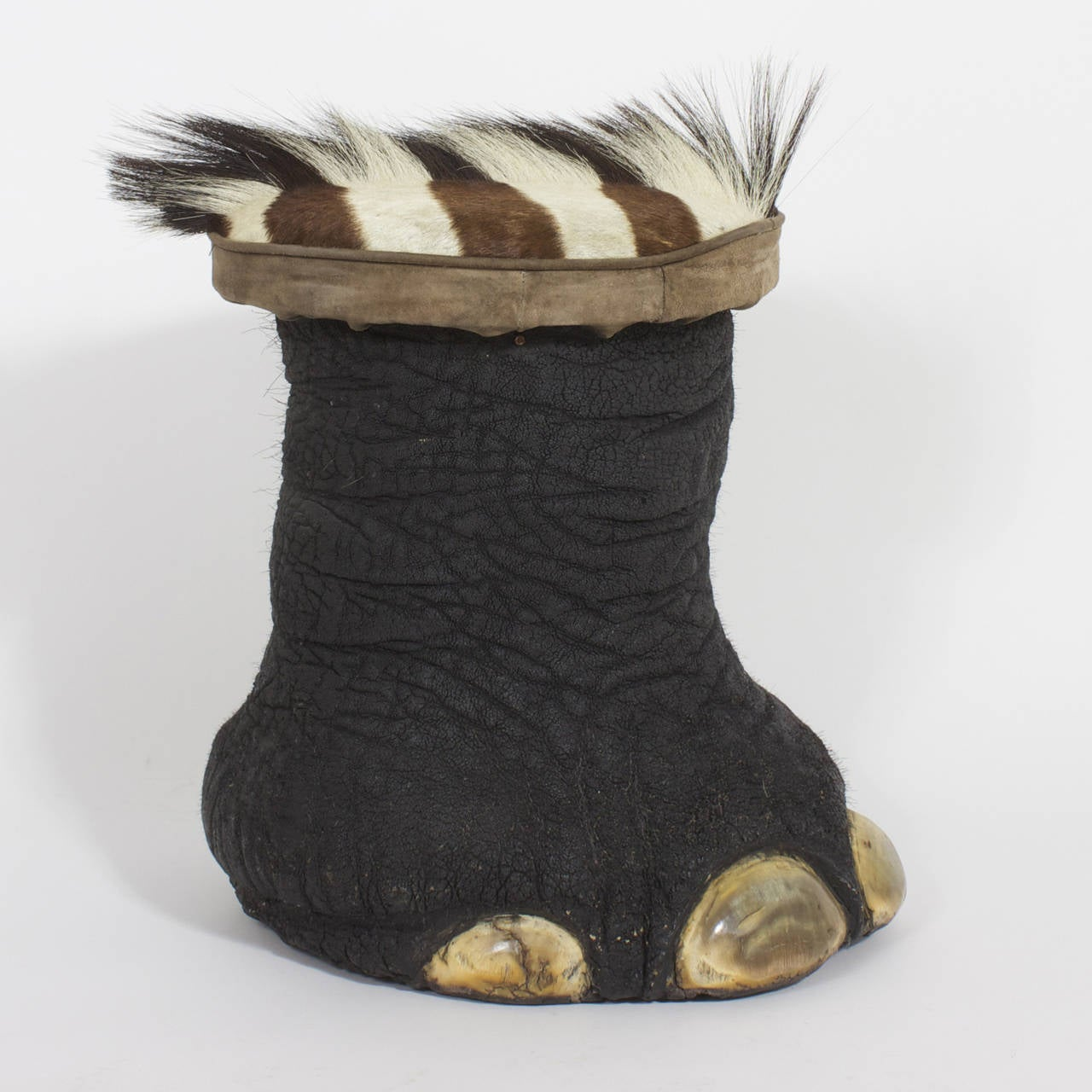 Elephants Feet Stools With Zebra Upholstery Seats At 1stdibs