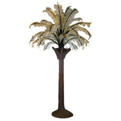 Huge Glass Frond Palm Tree Floor Light