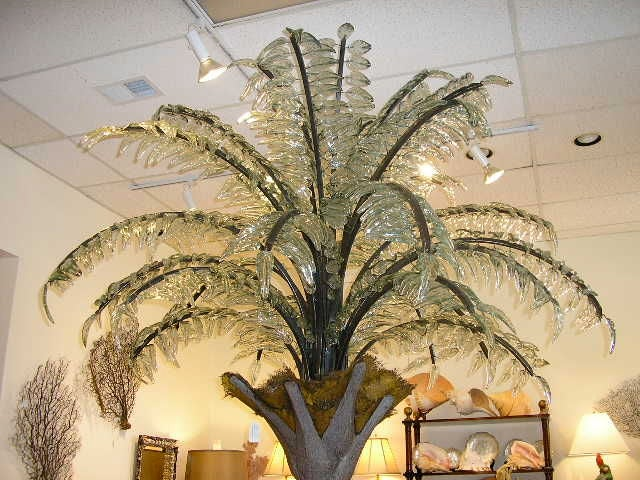 Huge Glass Frond Palm Tree Floor Light At 1stdibs