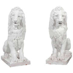 Facing Pair of Early to Mid-20th Century Regal, Majolica Lion Figures