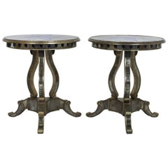 Pair of Round Mid-Century Mirrored Tables