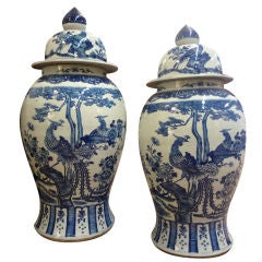 Pair of Blue and White Chinese Export Large Lidded Jars