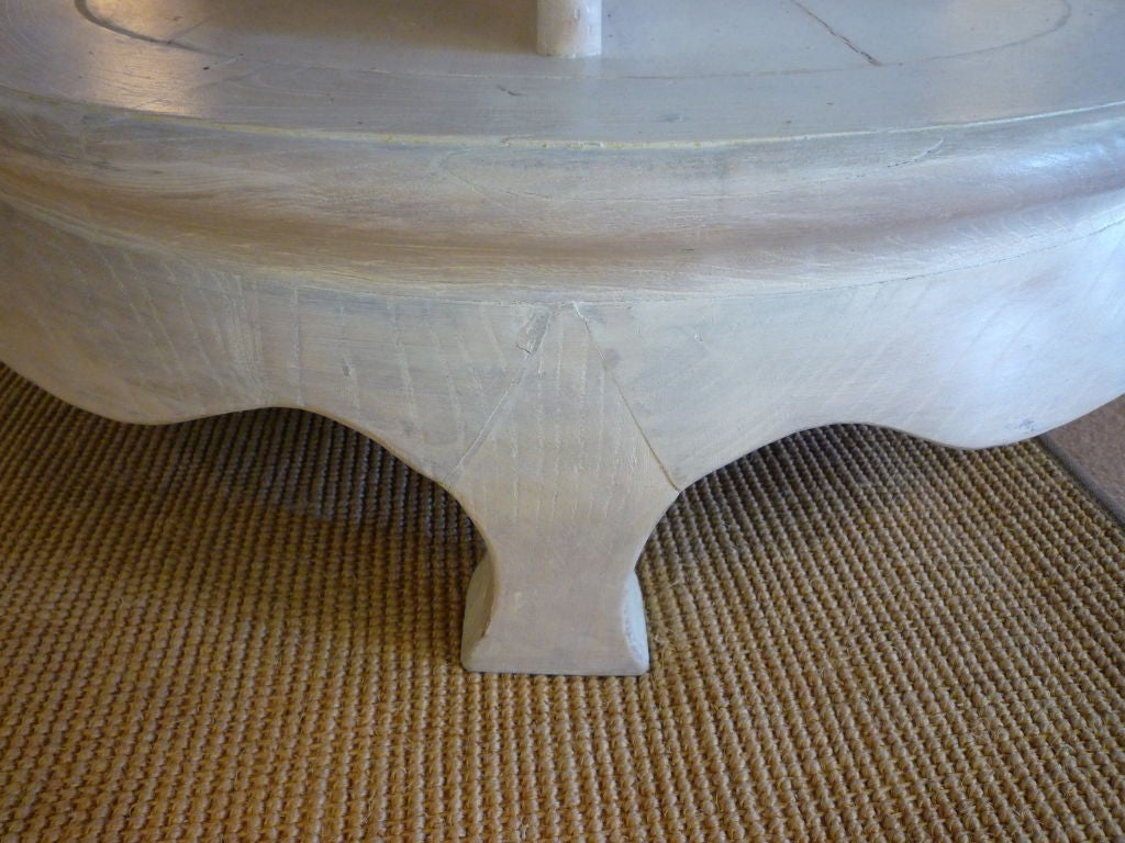 White finish round stone top dining or center table at 1stdibs