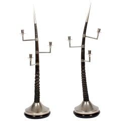 Pair of Large Oryx Horn Three-Arm Candelabra