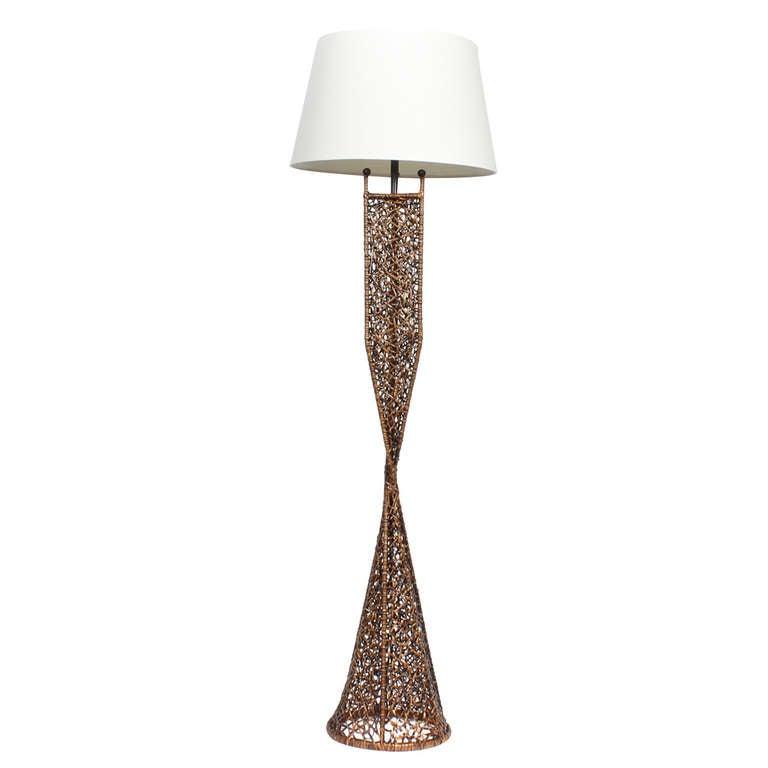 Modern Design Woven Wicker Floor Lamp