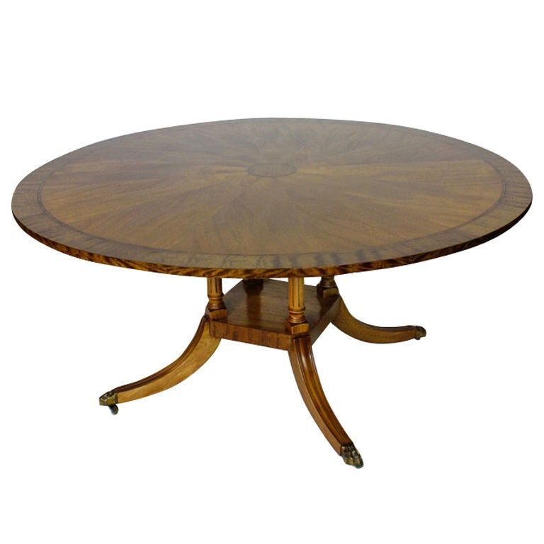 60 round inlaid mahogany dining table at 1stdibs for Table cuisine 60 x 60