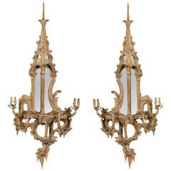 Pair of Neoclassical Chinoiserie Style Carved and Painted Mirrored Wall Sconces