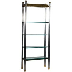 Polished Aluminum and Brass Etagere