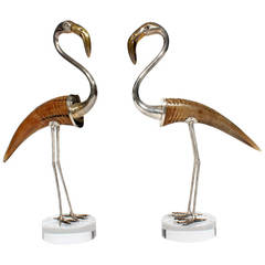 Pair of Large and Striking Binazzi Flamingos