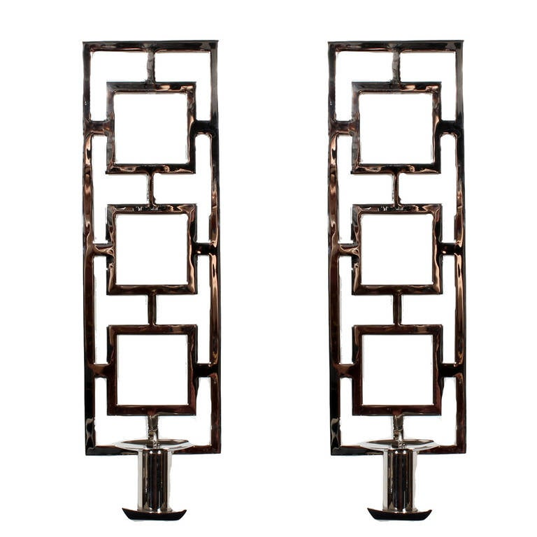 Pair of Custom Chrome Plated Brass Wall Sconces