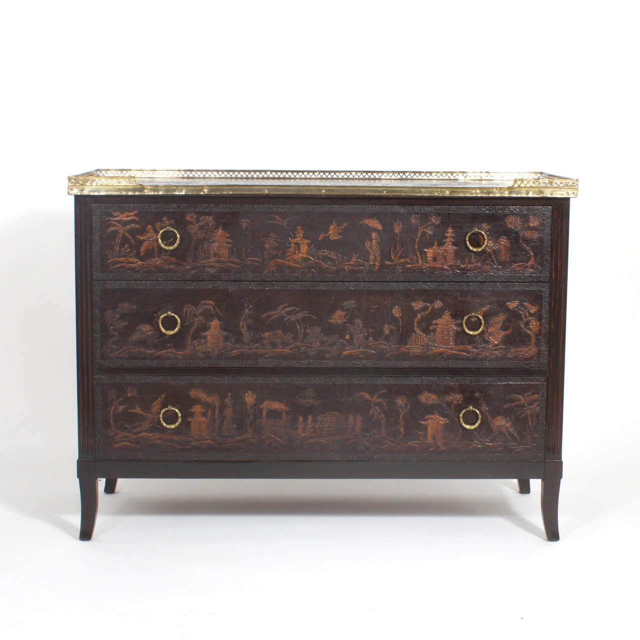 French Leather Chinoiserie Commode At 1stdibs