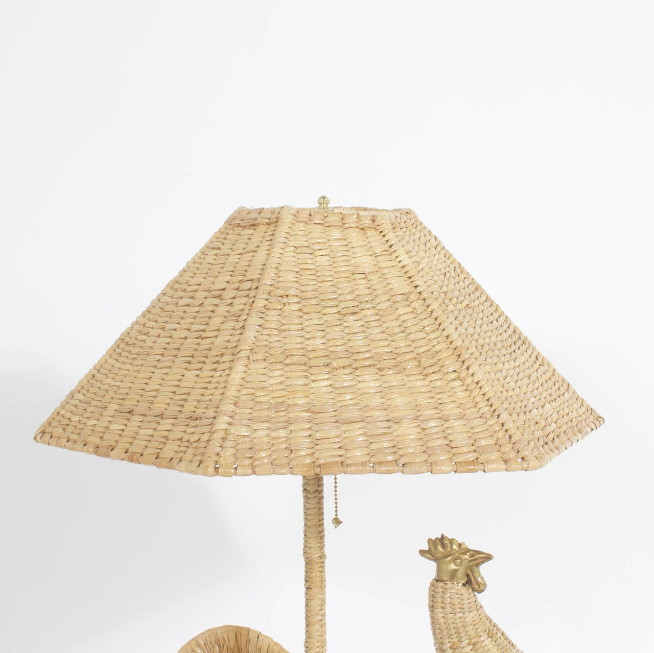 Hand-Woven Pair of Mario Torres Rooster Table Lamps