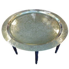 Large Hand Etched Silver Plated Tray on Collapsible Table Base