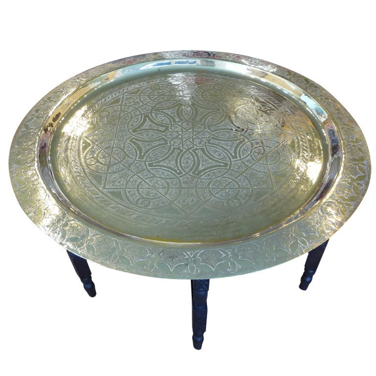 Silver Coffee Table Plate: Large Hand Etched Silver Plated Tray On Collapsible Table
