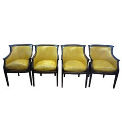 Set of Four Mahogany Upholstered Leather Regency Style Armchairs