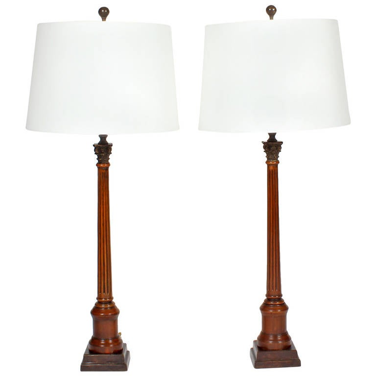 Pair of Neoclassical Lamps For Sale